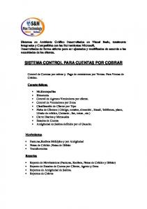 SISTEMA CONTROL PARA CUENTAS POR COBRAR