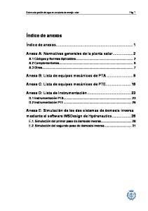 Sistema de gestión del agua en una planta de energía solar Pág. 1. Índice de anexos...1. Anexo A: Normativas generales de la planta solar