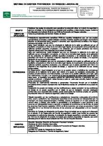 SISTEMA DE GESTION PREVENCION DE RIESGOS LABORALES