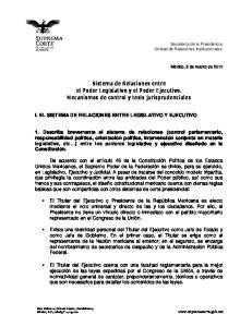 Sistema de Relaciones entre el Poder Legislativo y el Poder Ejecutivo. Mecanismos de control y tesis jurisprudenciales