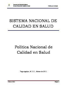 SISTEMA NACIONAL DE CALIDAD EN SALUD. Sistema Nacional de Calidad en Salud