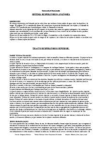 SISTEMA RESPIRATORIO: ANATOMÍA TRACTO RESPIRATORIO SUPERIOR: