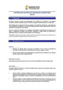 SISTEMAS DE CONTROL EN SEGURIDAD ALIMENTARIA HACCP