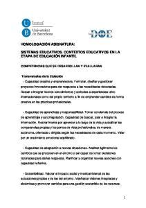 SISTEMAS EDUCATIVOS. CONTEXTOS EDUCATIVOS EN LA ETAPA DE EDUCACIÓN INFANTIL