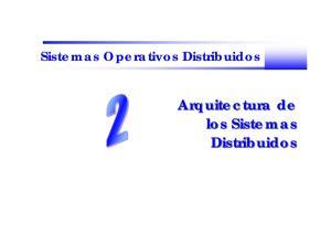Sistemas Operativos Distribuidos. Arquitectura de los Sistemas Distribuidos