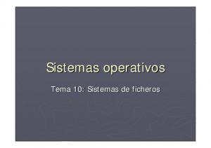 Sistemas operativos. Tema 10: Sistemas de ficheros