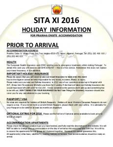 SITA XI 2016 HOLIDAY INFORMATION