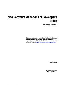 Site Recovery Manager API Developer's Guide