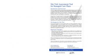 Site Visit Assessment Tool for Managed Care Plans