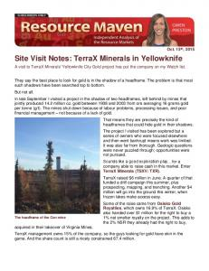 Site Visit Notes: TerraX Minerals in Yellowknife