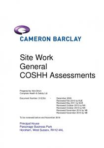 Site Work General COSHH Assessments