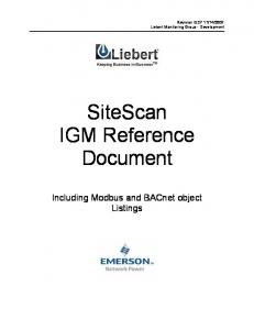 SiteScan IGM Reference Document