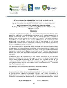 SITUACION ACTUAL DE LA PLASTICULTURA EN GUATEMALA RESUMEN
