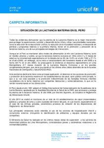 SITUACIÓN DE LA LACTANCIA MATERNA EN EL PERÚ