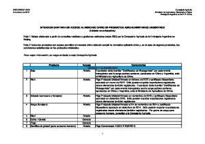 SITUACION SANITARIA DE ACCESO AL MERCADO CHINO DE PRODUCTOS AGROALIMENTARIOS ARGENTINOS (Listado no exhaustivo)