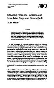 Situating Freedom: Jackson Mac Low, John Cage, and Donald Judd