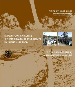 SITUATION ANALYSIS OF INFORMAL SETTLEMENTS IN SOUTH AFRICA