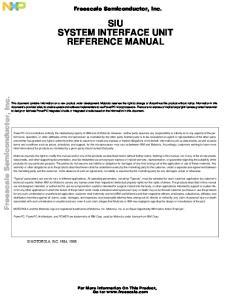 SIU SYSTEM INTERFACE UNIT REFERENCE MANUAL