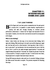 Six Sigma and Lean LEAN THINKING
