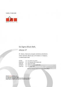 Six Sigma Black Belt, edycja 17