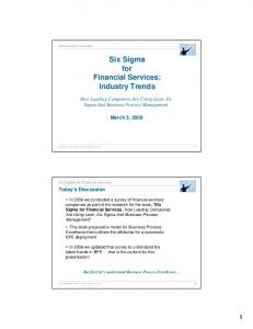 Six Sigma for Financial Services: Industry Trends