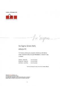 Six Sigma Green Belt, edycja 41