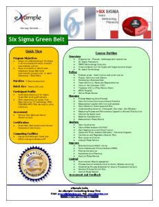 Six Sigma Green Belt. Quick View