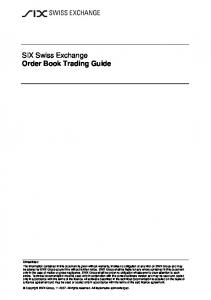 SIX Swiss Exchange Order Book Trading Guide