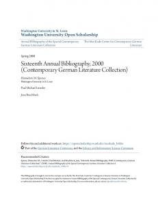 Sixteenth Annual Bibliography, 2000 (Contemporary German Literature Collection)