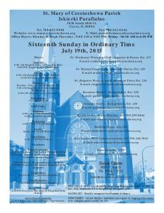 Sixteenth Sunday in Ordinary Time July 19th, 2015