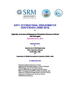 SIXTH INTERNATIONAL GROUNDWATER CONFERENCE (IGWC-2015)