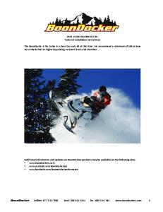 Ski-Doo 800 R E-Tec Turbo Kit Installation Instructions