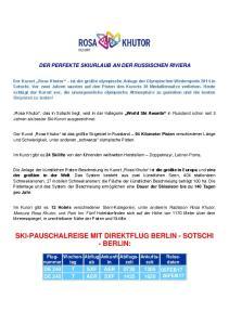 SKI-PAUSCHALREISE MIT DIREKTFLUG BERLIN - SOTSCHI - BERLIN: