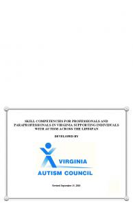 SKILL COMPETENCIES FOR PROFESSIONALS AND PARAPROFESSIONALS IN VIRGINIA SUPPORTING INDIVIDUALS WITH AUTISM ACROSS THE LIFESPAN