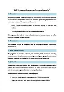 Skill Development Programme: Insurance Counsellor