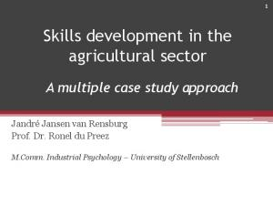 Skills development in the agricultural sector