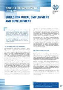 Skills for rural employment and development