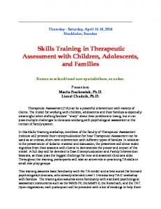 Skills Training in Therapeutic Assessment with Children, Adolescents, and Families