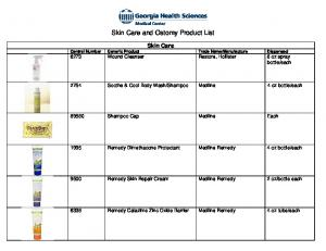 Skin Care and Ostomy Product List