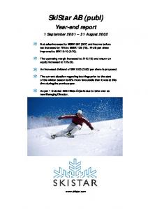 SkiStar AB (publ) Year-end report. 1 September August 2002