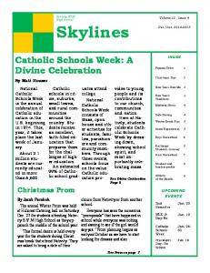 Skylines. college. National. Catholic. consists of Mass, open house and other activities for students, families,