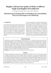 Slaughter yield and meat quality of chicken at different length of preslaughter feed withdrawal