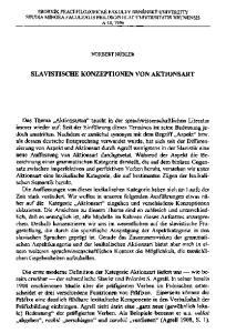 SLAVISTISCHE KONZEPTIONEN VON AKTIONSART