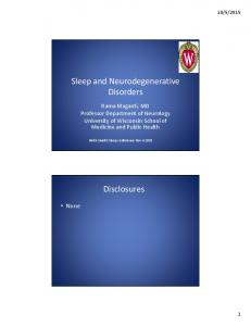 Sleep and Neurodegenerative Disorders. Disclosures