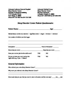 Sleep Disorder Center Patient Questionnaire