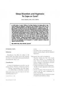 Sleep Disorders and Hypnosis: To Cope or Cure?