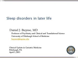 Sleep disorders in later life