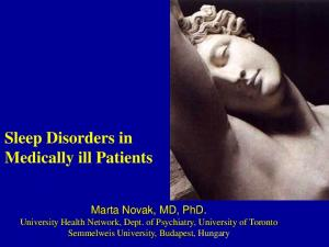 Sleep Disorders in Medically ill Patients