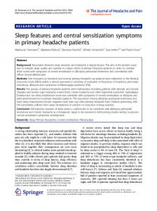 Sleep features and central sensitization symptoms in primary headache patients