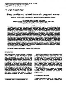 Sleep quality and related factors in pregnant women
